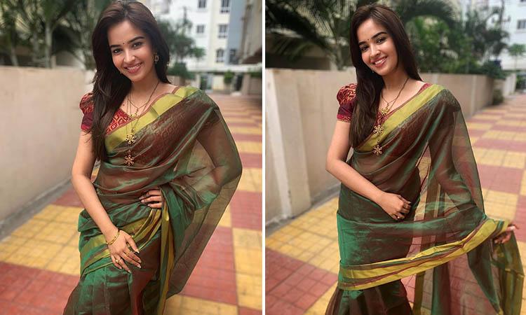 Pujita Ponnada Latest Photos in Green Saree